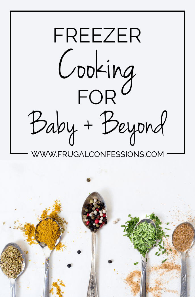 Last week (at 8 months, 25-odd days pregnant) it dawned on me that I needed a plan so that we don't end up zombie-calling the same three takeout places over the next few months. | http://www.frugalconfessions.com/save-me-money/my-freezer-cooking-day-for-baby-beyond.php