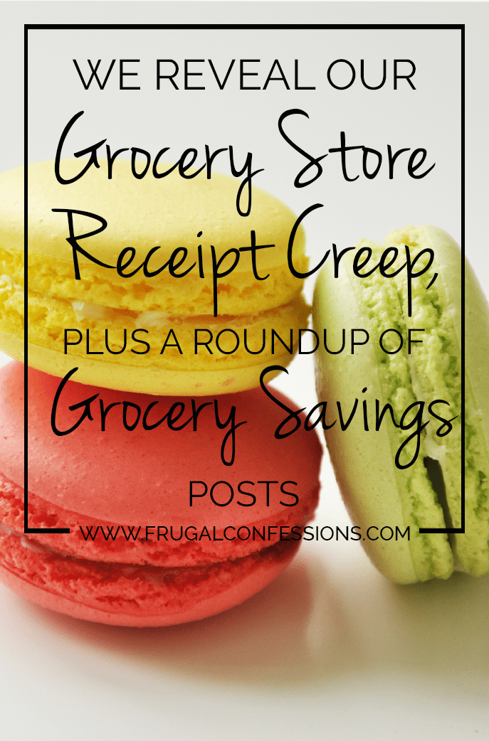 I didn't expect our grocery bill to soar so high after having just one baby. Of all the things we did to prepare for our precious Conner to enter this world (including learning how to cloth diaper), saving up for the added expense of groceries was not one of them | http://www.frugalconfessions.com/personal-spending/reveal-grocery-store-receipt-creep-plus-roundup-grocery-savings-posts.php